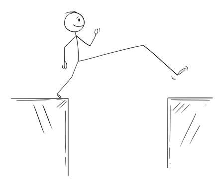 Vector cartoon stick figure illustration of man or businessman overcoming obstacle on way to success by long step. Иллюстрация