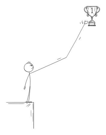Vector cartoon stick figure illustration of man or businessman overcoming obstacle on way to success or victory cup and taking award,prize, trophy or reward. Иллюстрация