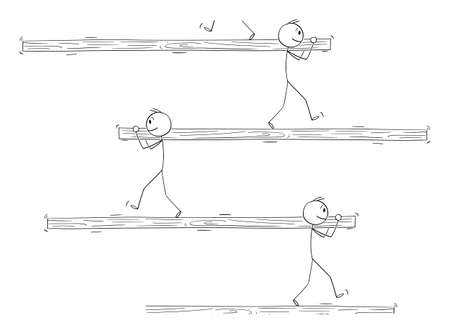 Vector cartoon stick figure illustration of man carrying log or beam and walking on log carried by another man. Impossible image.Concept of cooperation,teamwork,work or job. Иллюстрация