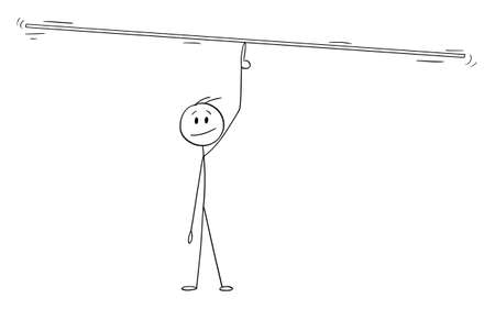 Vector cartoon stick figure illustration of man, manager or businessman balancing something on finger. Add your text or objects.