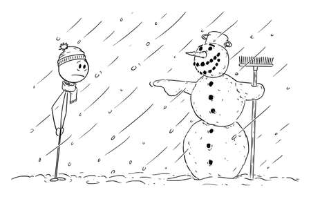 Vector cartoon stick figure illustration of frustrated man looking at mocking laughing snowman pointing at him.