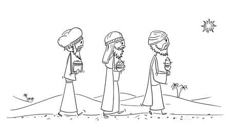 Vector cartoon stick figure illustration of three wise men or kings or biblical magi bearing gifts of gold, frankincense and myrrh to Jesus after his birth in Bethlehem. Concept of Bible, Christianity and Christmas.