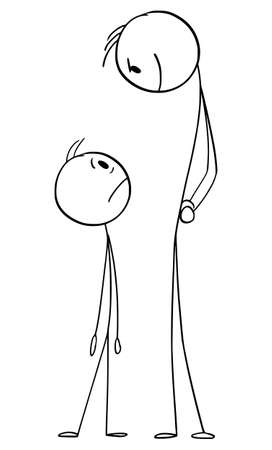 Vector cartoon stick figure illustration of frustrated man looking in fear looking at menacing or threatening dangerous man.