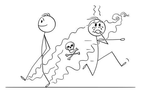 Vector cartoon stick figure funny illustration of man with smelly feet walking on street.