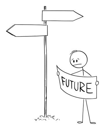Vector cartoon stick figure illustration of frustrated man or businessman on crossroad looking for right way forward to future in map.