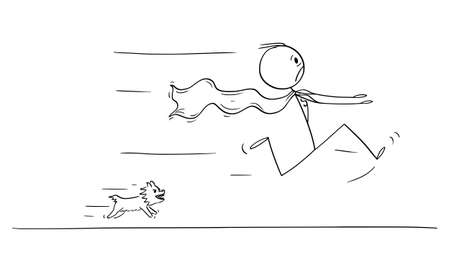 Vector cartoon stick figure illustration of scared hero or superhero running away in panic or fear from small angry cute dog chasing him.