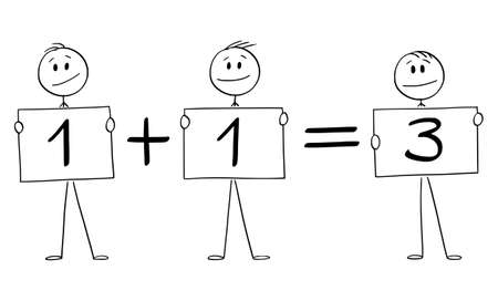 Vector cartoon stick figure illustration of three businessmen or men holding one plus one equals to three signs. business concept or profit and teamwork. Illustration