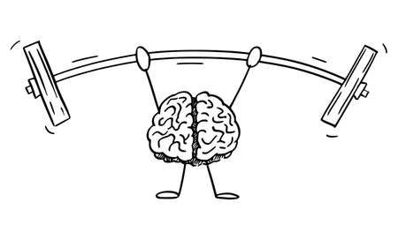 Vector cartoon stick figure illustration of strong human brain character lifts or training with heavy weights or dumbbell. Illustration