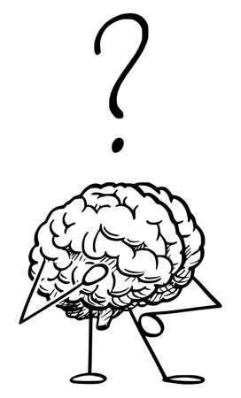 Vector cartoon stick figure illustration of human brain thinking with question mark above.