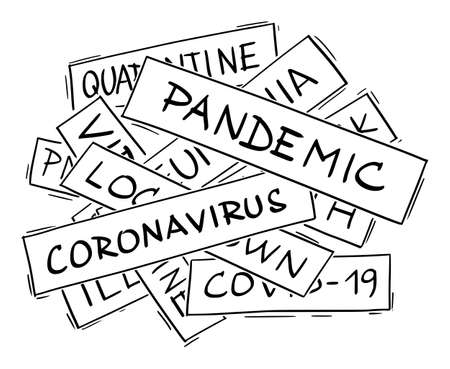 Vector illustration or drawing of covid-19 coronavirus epidemic theme collage. Illustration