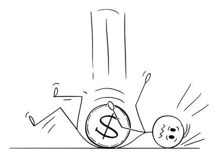 Vector cartoon stick figure illustration of dollar coin falling down on businessman or man. Concept of currency exchange and financial market. Illustration