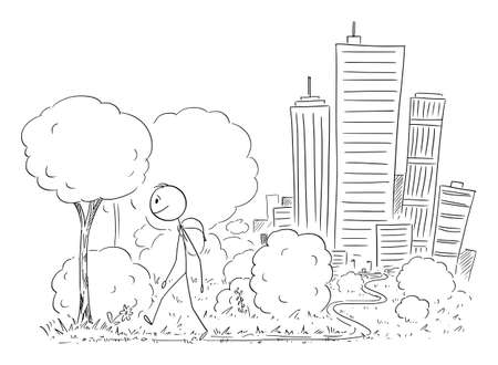Vector cartoon stick figure illustration of man leaving the big city on background and walking on trip in nature.