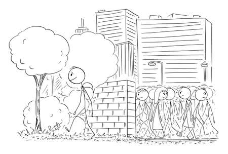 Vector cartoon stick figure illustration of man leaving the big city with crowds and walking on trip in nature.