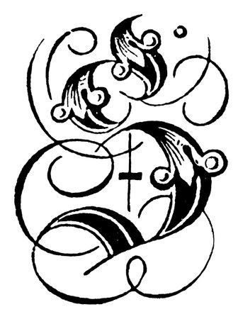 Decorative capital letter S. Vintage engraving or line drawing illustration.