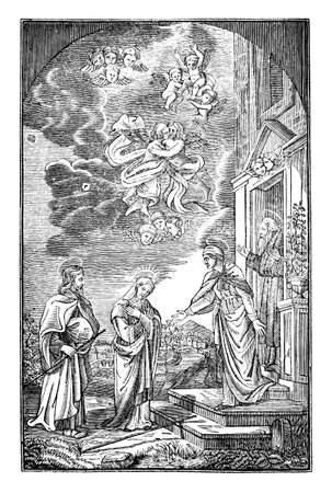 Christian holy travelers welcomed in house of god. Vintage engraving or line drawing illustration.