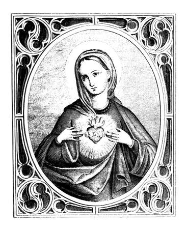 Hearth of Virgin Mary. Christian vintage engraving or line drawing illustration. 向量圖像