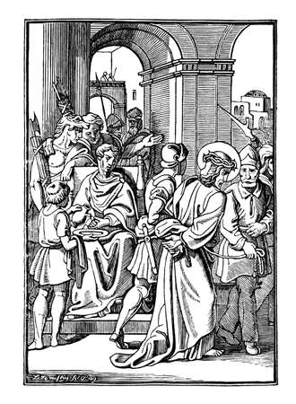 1th or First Station of the Cross or Way of the Cross or Via Crucis. Jesus is condemned to death.Bible,New Testament. Antique vintage biblical religious engraving or drawing. Illustration