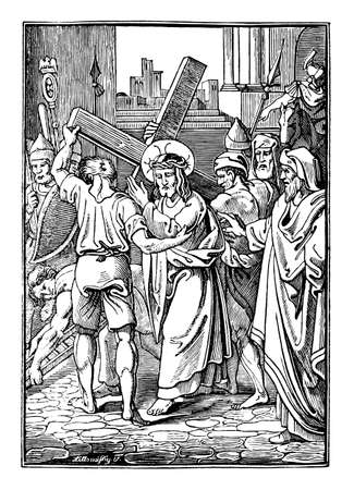 2nd or Second Station of the Cross or Way of the Cross or Via Crucis. Jesus carries His cross.Bible,New Testament. Antique vintage biblical religious engraving or drawing. Vektorgrafik