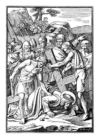 3th or third Station of the Cross or Way of the Cross or Via Crucis. Jesus falls for the first time.Bible,New Testament. Antique vintage biblical religious engraving or drawing.