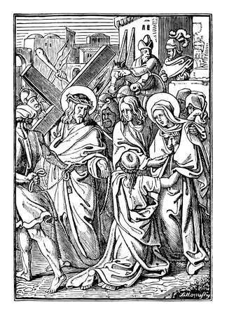 4th or fourth Station of the Cross or Way of the Cross or Via Crucis. Jesus meets his mother Mary.Bible,New Testament. Antique vintage biblical religious engraving or drawing.