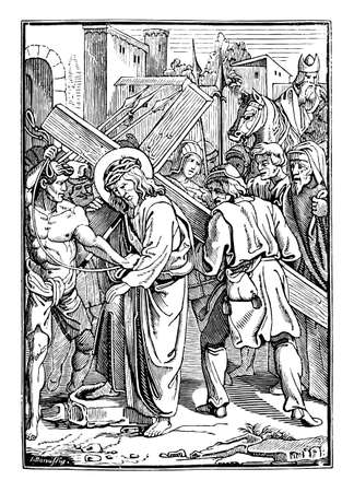 5th or fifth Station of the Cross or Way of the Cross or Via Crucis. Simon of Cyrene helps Jesus carry the cross.Bible,New Testament. Antique vintage biblical religious engraving or drawing.