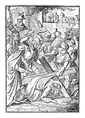 7th or seventh Station of the Cross or Way of the Cross or Via Crucis. Jesus falls for second time.Bible,New Testament. Antique vintage biblical religious engraving or drawing.