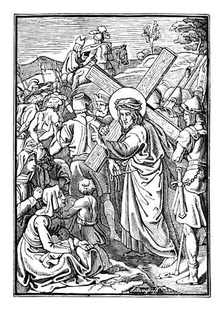 8th or eighth Station of the Cross or Way of the Cross or Via Crucis. Jesus meets the women of Jerusalem.Bible,New Testament. Antique vintage biblical religious engraving or drawing.