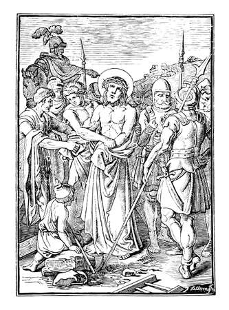 10th or tenth Station of the Cross or Way of the Cross or Via Crucis. Jesus is stripped of his clothes.Bible,New Testament.Antique vintage biblical religious engraving or drawing. Illustration