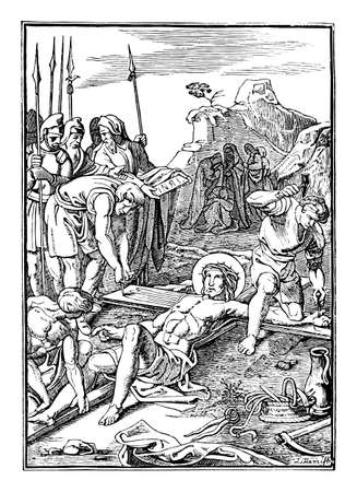 11th or eleventh Station of the Cross or Way of the Cross or Via Crucis. Jesus is nailed to the cross.Bible,New Testament.Antique vintage biblical religious engraving or drawing.