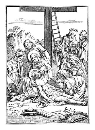 13th or thirteenth Station of the Cross or Way of the Cross or Via Crucis. Jesus is taken down from the cross.Bible,New Testament.Antique vintage biblical religious engraving or drawing. Illustration