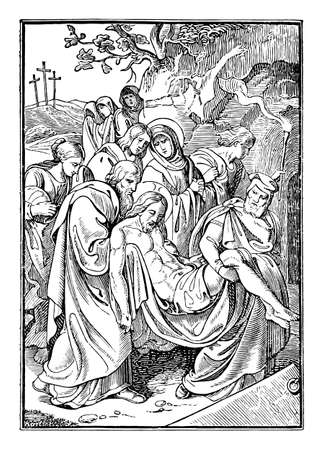 14th or fourteenth Station of the Cross or Way of the Cross or Via Crucis. Jesus is laid in the tomb.Bible,New Testament.Antique vintage biblical religious engraving or drawing.