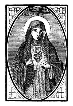 Hearth of Virgin Mary. Christian vintage engraving or line drawing illustration. Illustration