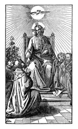 Jesus Christ sitting on throne is giving keys of gate of heaven to saint Peter. Antique vintage biblical Christian religious engraving or drawing. Bible,New testament, Mathew 16:19.