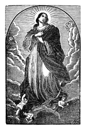 Virgin Mary or holy woman standing on sky in heaven with hands on heart. Antique vintage biblical Christian religious engraving or drawing. Illustration