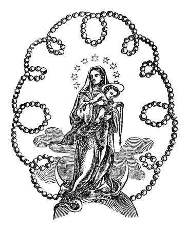 Ornamental image of Madonna or virgin Mary holding baby Jesus Christ surrounded by pearl ornament.Antique vintage biblical Christian religious engraving or drawing. Illustration