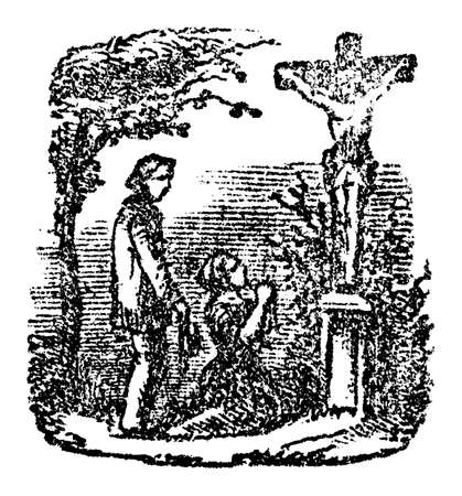 Man and woman are praying to Jesus Christ, kneeling in front of cross outside in nature.Antique vintage biblical Christian religious engraving or drawing.