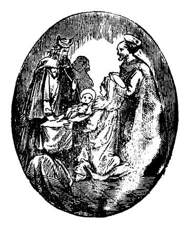 Virgin Mary, Joseph and baby Jesus Christ in Jerusalem temple meet Simeon. Bible, New Testament,Luke 2.Antique vintage biblical Christian engraving or drawing.