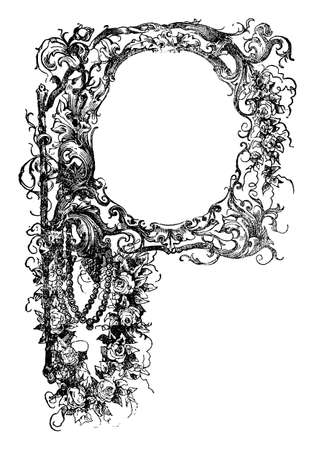 Decorative floral ornamental frame or capital letter P. Antique vintage engraving or drawing. Illustration
