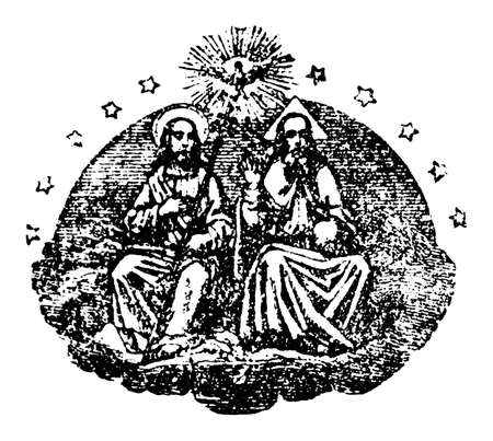 God or lord, Jesus Christ and holy spirit in heaven. Antique vintage biblical religious engraving or drawing.