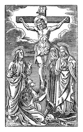Crucified Jesus Christ dies on the cross surrounded by women like Mary Magdalena or Virgin Mary. Illustration