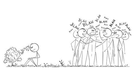 Man is hearing the singing of bird, crowd of people is chattering and ignoring beauty of nature, vector cartoon stick figure or character illustration. Vettoriali