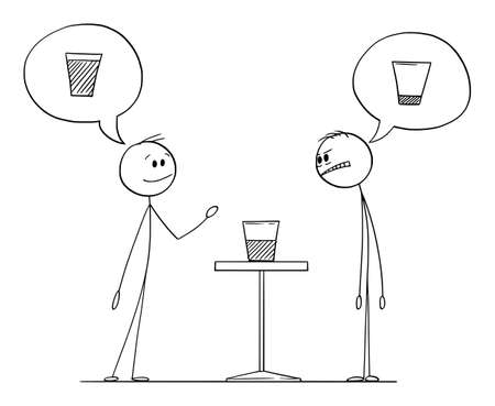 Two men are meaning if the glass with water is half full or half empty, vector cartoon stick figure or character illustration.
