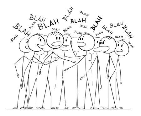 Crowd or group of people is chattering about nothing, talking or speaking blah, vector cartoon stick figure or character illustration.
