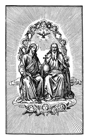 God or lord and Jesus Christ are sitting together on throne in kingdom of heaven as kings. Holy spirit above them.Antique vintage christian religious engraving or drawing illustration.