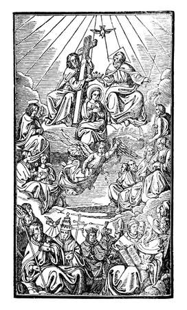 God or Lord and Jesus Christ sitting on throne above saints and clerics, popes, cardinals, bishops and priests. Antique vector vintage christian religious engraving or drawing illustration.