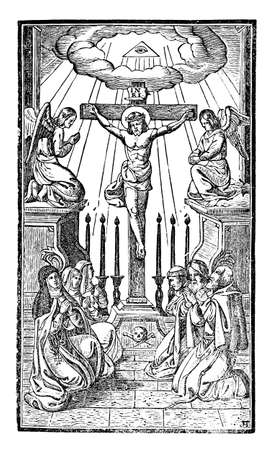Nuns and monks pray to Crucified Jesus Christ on Cross. Antique vintage christian religious engraving or drawing illustration.