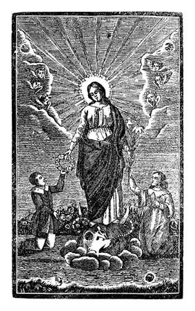 Man and woman pray and give lily and rose wreath to virgin mother Mary. Antique vintage christian religious engraving or drawing illustration.