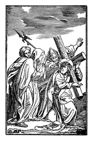 4th or fourth Station of the Cross or Way of the Cross or Via Crucis. Jesus meets his mother Mary.Bible,New Testament. Antique vintage biblical religious engraving or drawing. Vector Illustration