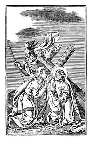 6th or sixth Station of the Cross or Way of the Cross or Via Crucis. Veronica wipes the face of Jesus.Bible,New Testament.Antique vintage biblical religious engraving or drawing.
