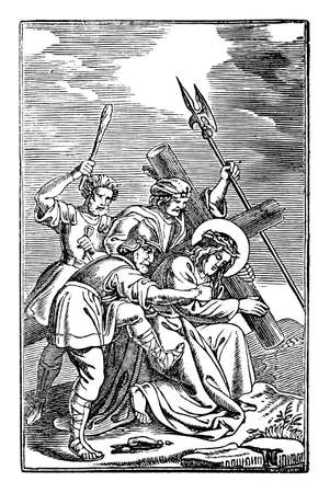 7th or seventh Station of the Cross or Way of the Cross or Via Crucis. Jesus falls for second time.Bible,New Testament. Antique vintage biblical religious engraving or drawing. Vector Illustration